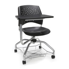 Foresee Series Tablet Stars Student Chair with Removable Plastic Seat Cushion - Black