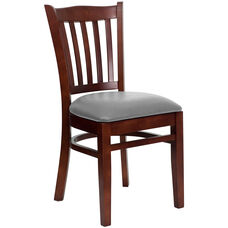 Mahogany Finished Vertical Slat Back Wooden Restaurant Chair with Custom Upholstered Seat