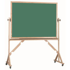 Reversible Free Standing Green Chalkboard with Red Oak Frame - 48
