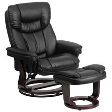 Contemporary Multi-Position Recliner and Curved Ottoman with Swivel Mahogany Wood Base in Black LeatherSoft