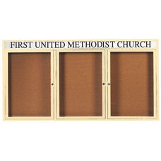 3 Door Indoor Illuminated Enclosed Bulletin Board with Header and Ivory Powder Coated Aluminum Frame - 36