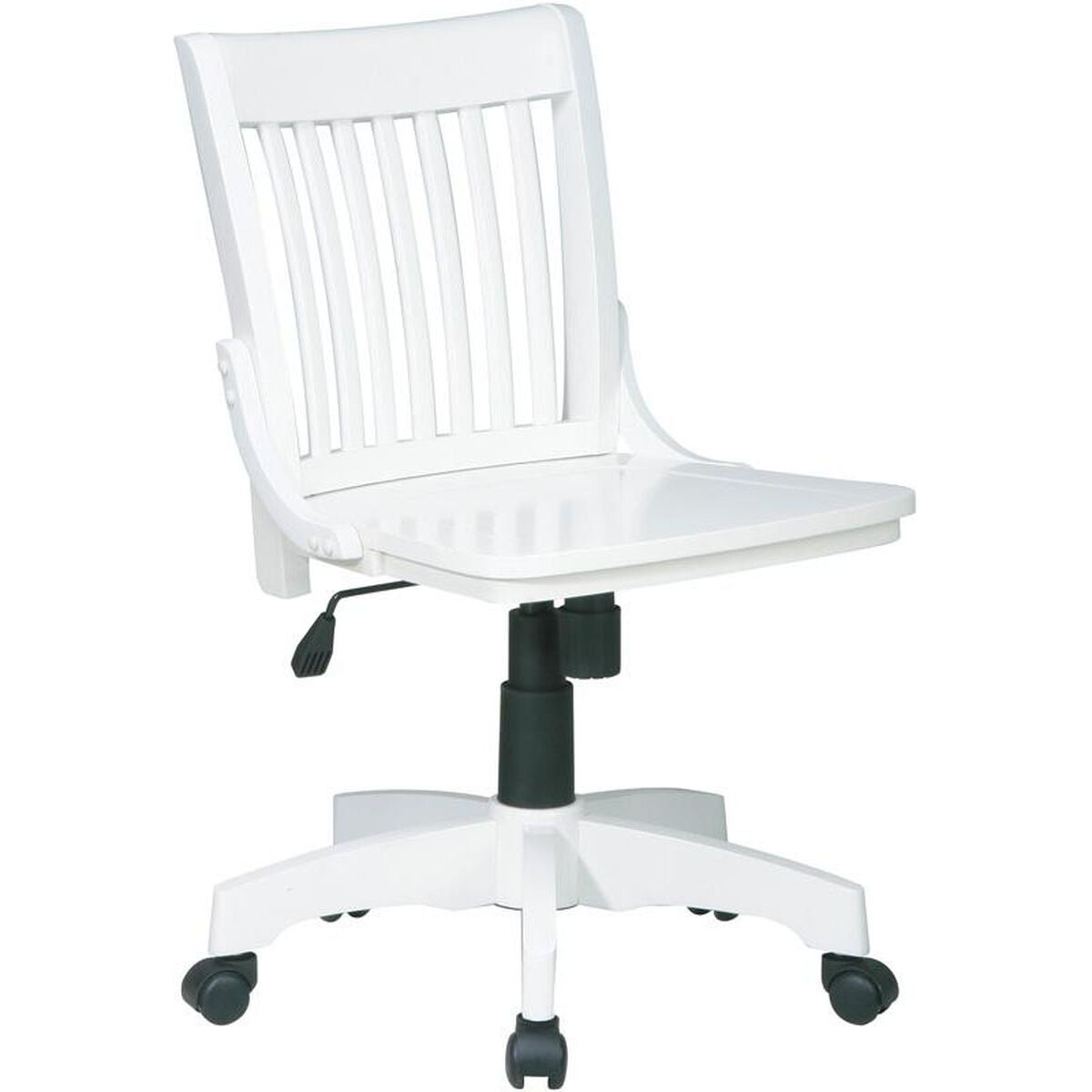 ... Our OSP Designs Deluxe Armless Wood Banker's Desk Chair with Wood Seat  - Antique White is ... - Deluxe White Bankers Chair 101ANW SchoolFurniture4Less.com