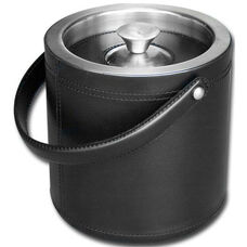 Classic Leather Ice Bucket - Black