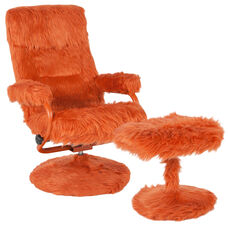 East Side Contemporary Multi-Position Recliner and Ottoman in Orange Fur