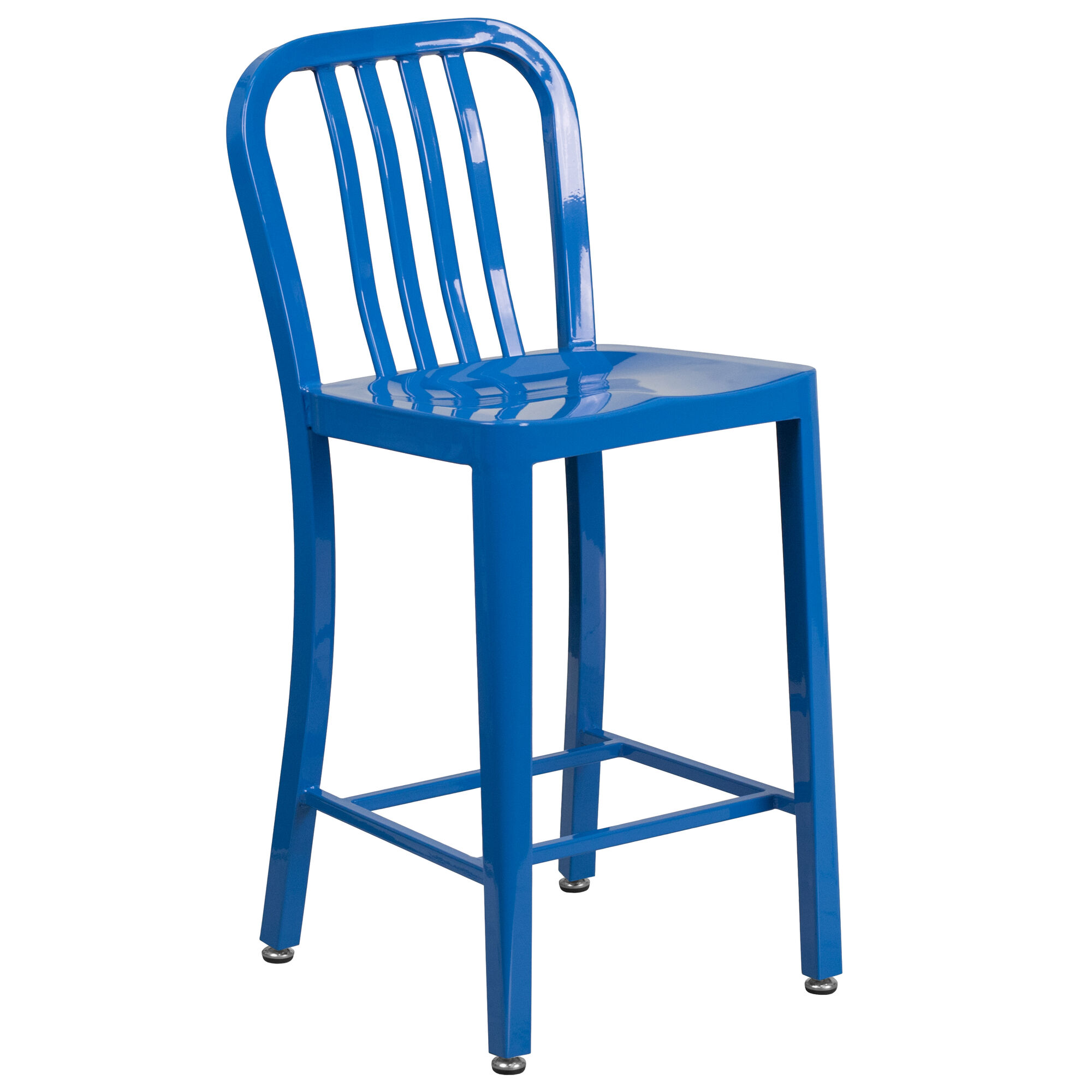 Awesome Commercial Grade 24 High Blue Metal Indoor Outdoor Counter Height Stool With Vertical Slat Back Machost Co Dining Chair Design Ideas Machostcouk