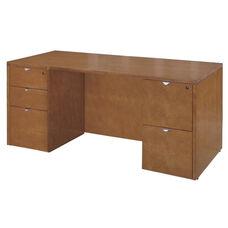 OSP Furniture Kenwood Hardwood Veneer Double Pedestal Desk with Curved Metal Drawer Pulls