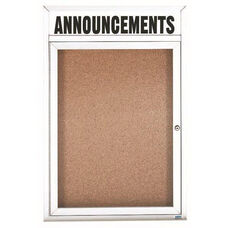 1 Door Indoor Enclosed Bulletin Board with Header and White Powder Coated Aluminum Frame - 24