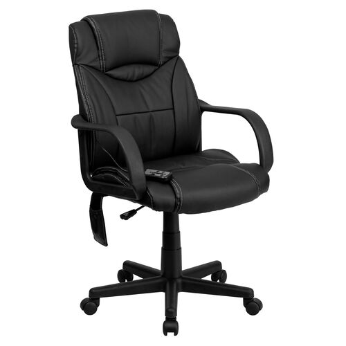 Our Mid-Back Ergonomic Massaging Black LeatherSoft Executive Swivel Office Chair with Arms is on sale now.