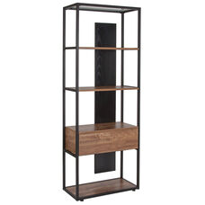 """Cumberland Collection 4 Shelf 65.75""""H Bookcase with Drawer in Rustic Wood Grain Finish"""