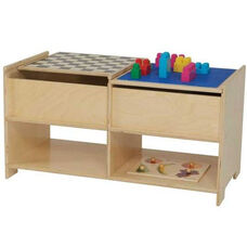 Build-n-Play Table with Reversible Top Panels and Two Additional Lower Shelves - Assembled - 36.5