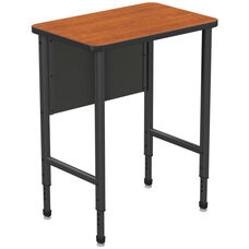 Apex Series Height Adjustable Stand Up Desk with PVC Edge - Wild Cherry Top with Black Edge and Legs - 30