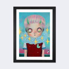 Children of this Planet Series: #26 by Hikari Shimoda Artwork on Fine Art Paper with Black Matte Hardwood Frame - 24