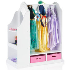Dress Up Vanity with Eight Storage Hooks and Two Mirrors on Either Side - White - 36