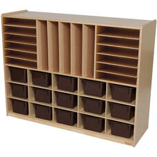 Wooden Mobile Multi Storage Unit with 15 Brown Plastic Storage Trays - 48