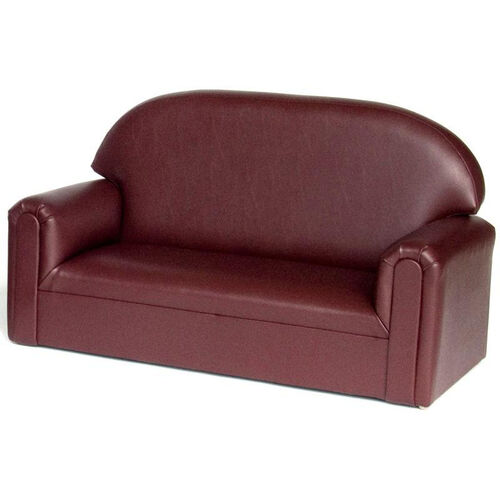 Our Just Like Home Toddler Size Overstuffed Vinyl Sofa - Port Burgundy - 34
