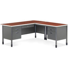 Mesa L-Shaped Desk with Right Pedestal Return - Cherry