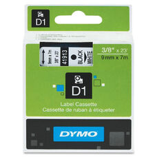 Dymo Blue on White D1 Label Tape - 23 ft Length - Polyester - White