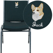 Embroidered HERCULES Series Heavy Duty Green Patterned Fabric Stack Chair