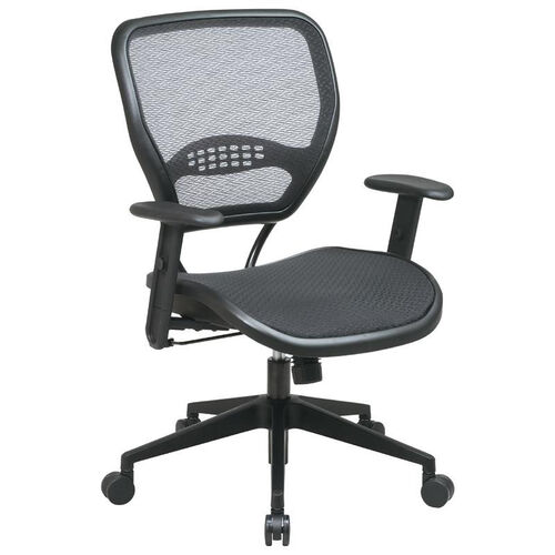 Space Air Grid Seat and Back Deluxe Task Chair with Adjustable Arms and Heavy Duty Angled Nylon Base - Black