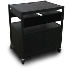 Spartan Series Adjustable Media Projector Cart and Cabinet with Two Pull-Out Side-Shelves - Black