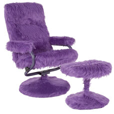 East Side Contemporary Recliner and Ottoman in Purple Fur