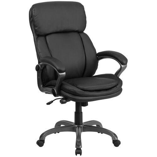 Our High Back Black LeatherSoft Executive Swivel Ergonomic Office Chair with Lumbar Support Knob with Arms is on sale now.