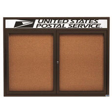 2 Door Indoor Enclosed Bulletin Board with Header and Bronze Anodized Aluminum Frame - 36