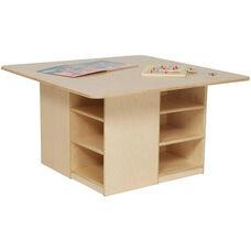 Healthy Kids Plywood Cubbie Table with Twelve Brown Storage Trays Underneath - Assembled - 36