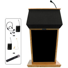 Patriot Wireless 50 Watt Sound and Hand Held Mic Lectern - Oak Finish - 31