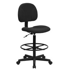 Black Patterned Fabric Drafting Chair (Cylinders: 22.5
