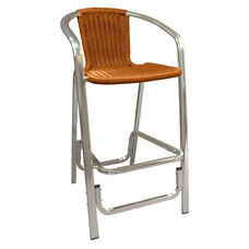 Aluminum Barstool with Simulated Wicker