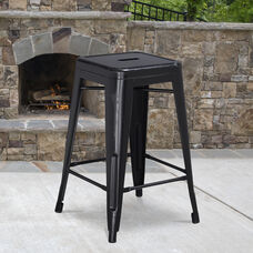 """Commercial Grade 24"""" High Backless Distressed Black Metal Indoor-Outdoor Counter Height Stool"""
