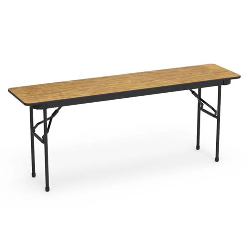 6000 Series Traditional Rectangular Folding Table with Medium Oak Top and Black Frame - 18