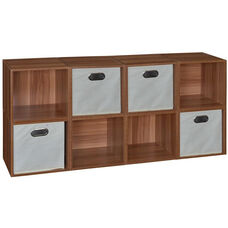 Niche Cubo Wooden Storage Case - Set of 8 Cubes and 4 Canvas Bins - Cherry