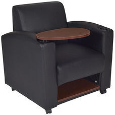 Nova Tablet Arm Vinyl Chair with Casters - Set of 2 - Black with Java Wood Accents