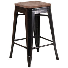 """24"""" High Backless Black-Antique Gold Metal Counter Height Stool with Square Wood Seat"""