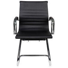 Techni Mobili Modern Visitor Office Chair with Chrome Frame - Black