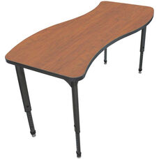 Apex Series Height Adjustable Wave Activity Table - Wild Cherry Top with Black Edge and Legs - 60