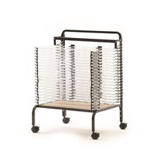 Spring Loaded Paint Drying Rack with 20 Spring-Loaded Shelves and Metal Frame - 26.5''W x 25''D x 33.5''H