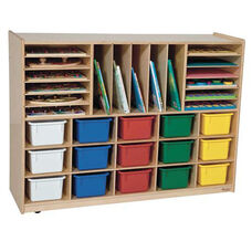 Multi-Storage Healthy Kids Plywood Unit with Fifteen Multi-Colored Cubby Trays and Seventeen Other Storage Compartments - Assembled - 48