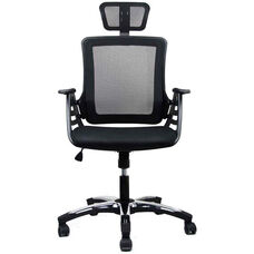 Techni Mobili Executive High Back Folding Chair with Headrest - Black