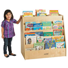 Birch Display and Store Mobile Book Cart with Five Easy-To-Reach Book Display Shelves