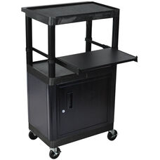 3 Shelf Heavy Duty A/V Utility Cart with Locking Cabinet and Pullout Keyboard Tray - Black - 24