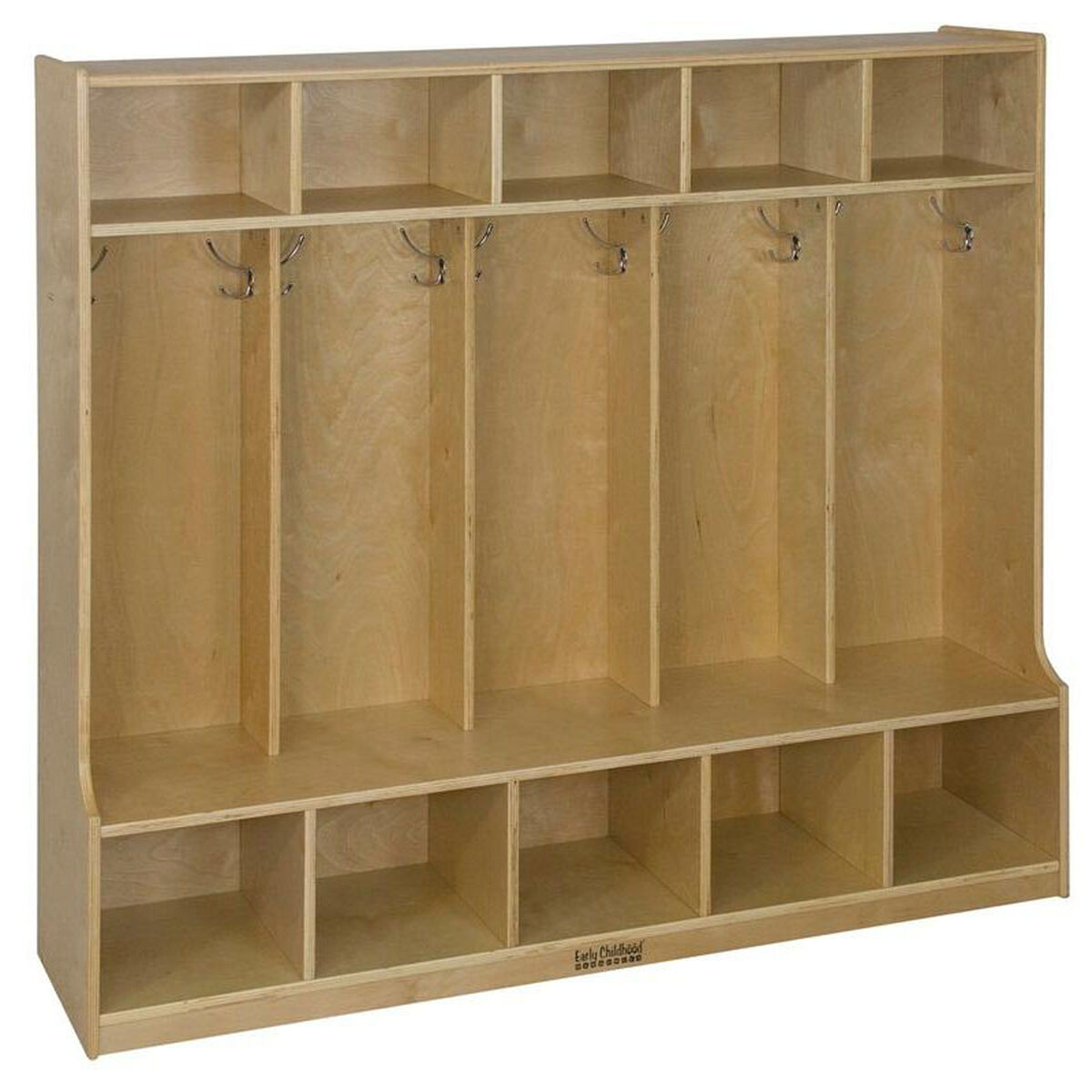 Our Birch Hardwood Five Section 10 Hook Coat Locker With Bench And Cubbies Is On