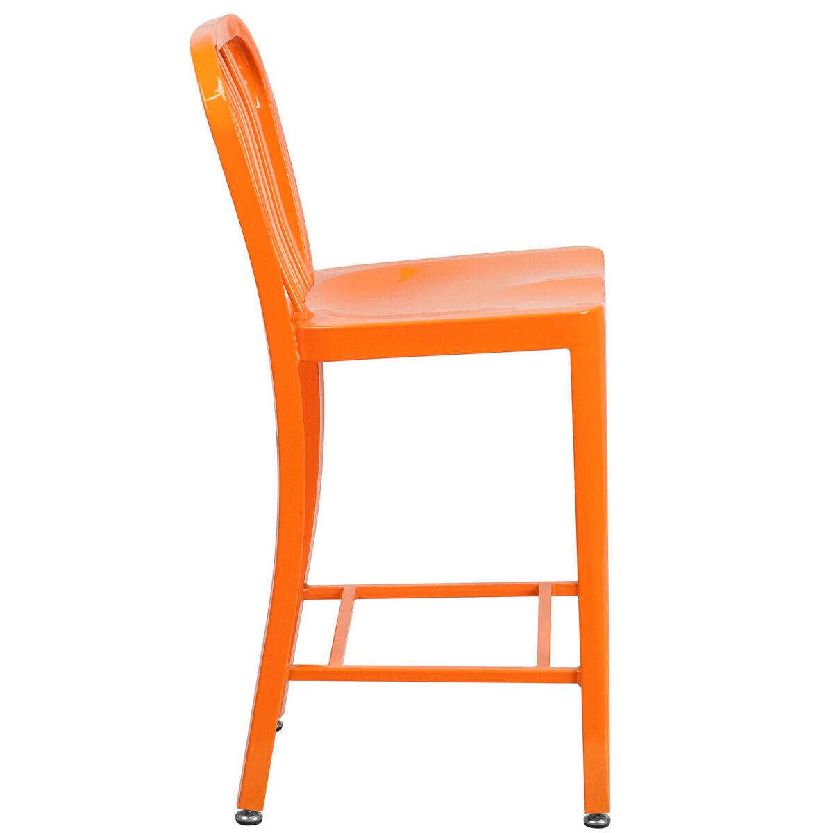 24 High Orange Metal Indoor Outdoor Counter Height Stool