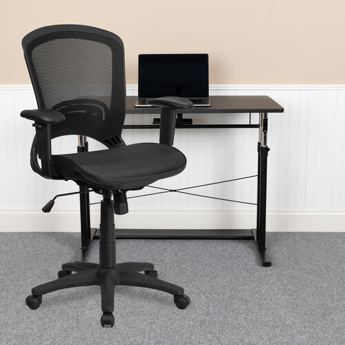 Our Mid-Back Transparent Black Mesh Executive Swivel Office Chair with Adjustable Arms is on sale now.