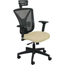Fermata Executive Mesh Chair with Black Base and Headrest - Forsythia Fabric