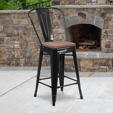 """24"""" High Black Metal Counter Height Stool with Back and Wood Seat"""