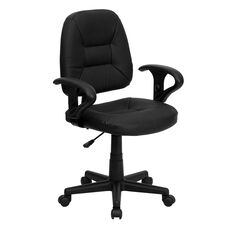 Mid-Back Black Leather Ergonomic Swivel Task Chair with Adjustable Arms