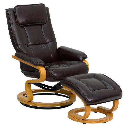 Our Contemporary Multi-Position Recliner and Ottoman with Swivel Maple Wood Base in Brown LeatherSoft is on sale now.